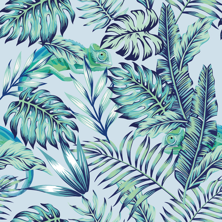 Exotic animal chameleon hiding in the  blue jungle on light background. Flat tropical seamless composition exotic tropical vector in vintage style