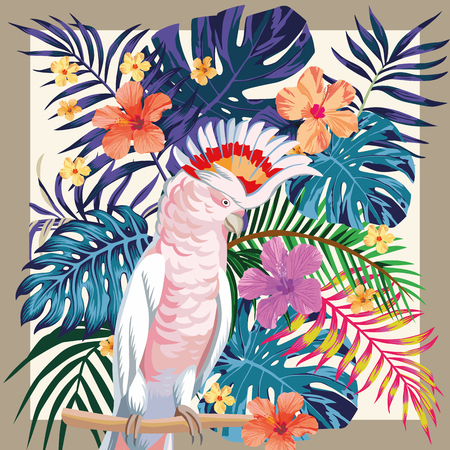 Exotic bird parrot ara on the abstract color  tropical palm leaves and hibiscus flowers pattern frame