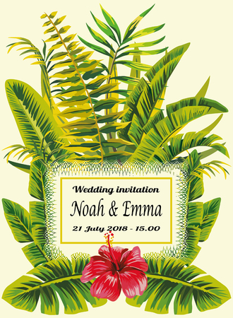 Tropical wedding invitation card. Exotic greenery leaves and red hibiscus flowers border frame decoration.