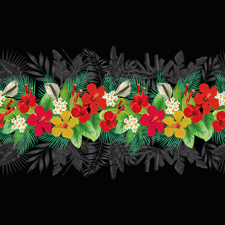 Seamless bright hibiscus plumeria tropical flowers green banana leaves decorative pattern strip black exotic background Vectores