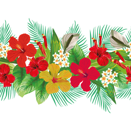 Seamless tropical hand drawn vector red yellow hibiscus and plumeria flowers leaves decorative strip line horizontal floral pattern white background