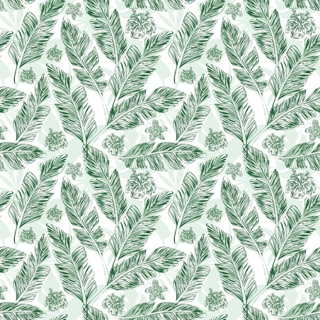 Hand drawn silhouette branches green palm leaves hibiscus plumeria flowers nature organic tropical background seamless pattern