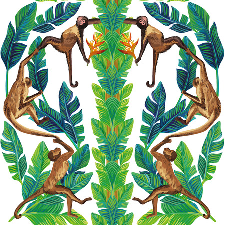 Realistic composition symmetrical mirror monkey palm leaves bright strelizia flowers in the tropic exotic jungle seamless vector pattern white background. Beach floral wallpaper Illustration
