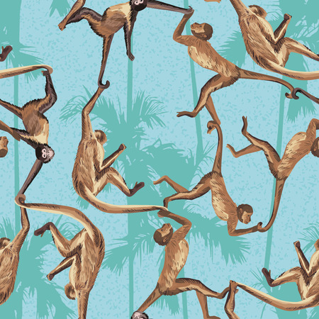 Monkey in the jungle realistic seamless vector pattern. Palm trees background Vectores