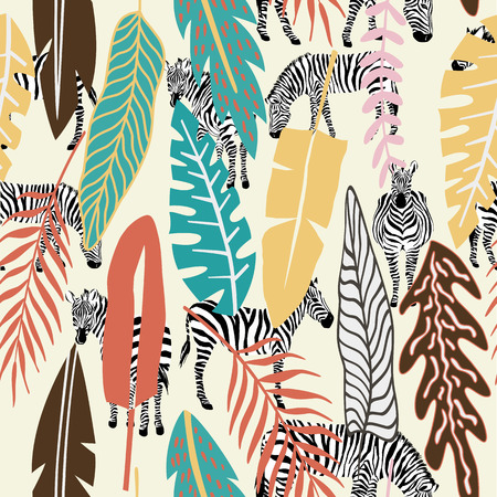 Abstract colorful tropical leaves pattern