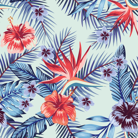 Blue style hibiscus plumeria flowers palm banana leaves seamless vector pattern light background. Beach wallpaper fabric trendy design