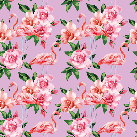 Pink flamingo birds rose flowers natural color seamless vector pattern beach wallpaper  イラスト・ベクター素材