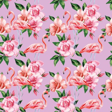 Pink flamingo birds rose flowers natural color seamless vector pattern beach wallpaper Stock Illustratie