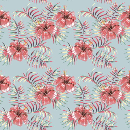 Tropical flowers hibiscus jungle palm banana leaves pastel color seamless vector pattern beach wallpaper