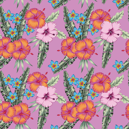 Tropical hibiscus flowers plumeria diferent rose color seamless vector pattern