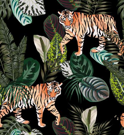 Idąc egzotyczny tygrys zwierzęcy w ciemnej dżungli wzór czarne tło ilustracja bez szwu wektor modny skład plaży tapeta.