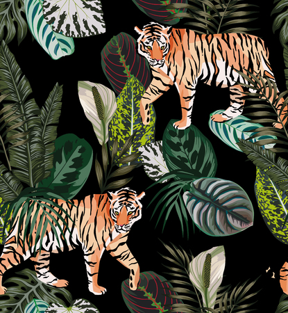 Va tigre animal exótico en la selva oscura patrón fondo negro ilustración vector transparente composición moda playa papel pintado.