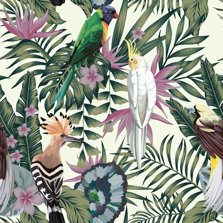 Tropical birds parrot, exotic jungle plants leaves flowers abstract pastel color seamless white background. Иллюстрация
