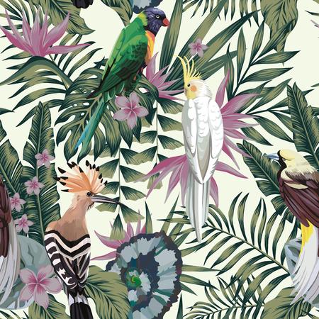 Tropikalne ptaki papuga, egzotyczne rośliny dżungli liście kwiaty streszczenie pastelowy kolor bez szwu białe tło. Ilustracje wektorowe