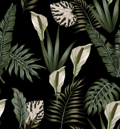 Night jungle tropical composition white flowers seamless pattern