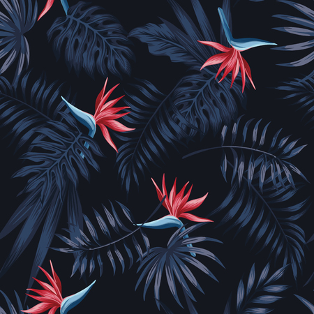 Exotic tropical flowers bird of paradise (strelitzia) red color blue palm leaves dark night jungle background seamless vector pattern beach illustration Stock Illustratie