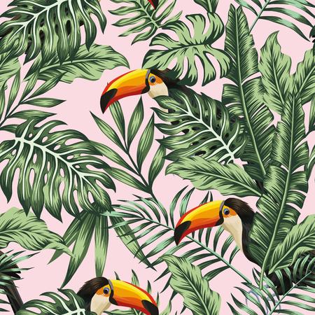 Exotische tropische grüne Dschungelpalme, Monstera verlässt mit modischem Vogeltukan-Rosahintergrund. Vektor nahtlose Musterzusammensetzung