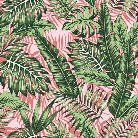 Tropical green leaves jungle pink plants background