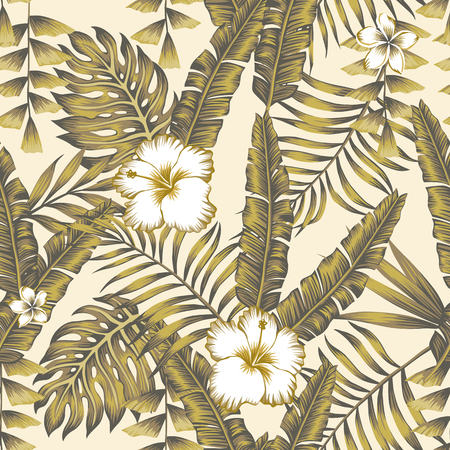 Tropical exotic palm banana leaves and hibiscus plumeria flowers abstract color beige background. Trendy vector seamless pattern