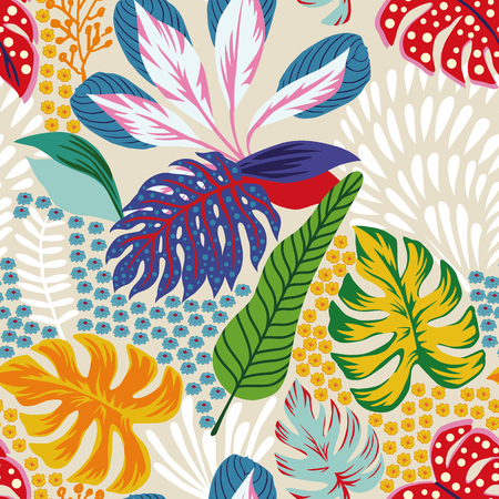 Cartoon illustrations. Abstract color tropical leaves flowers seamless sand background. Trendy pattern vector composition