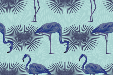 Exotic bird abstract color blue flamingo tropical composition seamless pattern. Vector summer autumn illustration. 矢量图像