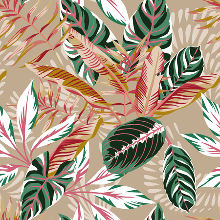 Tropical exotic leaves seamless beige background. Vector summer pattern autumn illustration