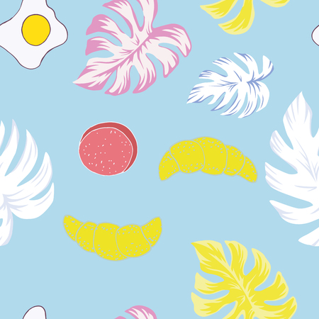 Tropical leaves Monstera wink summer breakfast seamless vector illustration omelette croissant bun. Light blue cartoon pattern Illustration