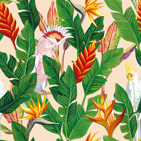 Exotic bird ara Parrot tropical Flowers bird of paradise strelitzia banana leaves seamless beige background. Trendy vector pattern illustration Illustration