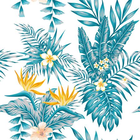 Trendy exotic composition flowers bird of paradise, plumeria and tropical plants blue color scheme palm leaves seamless pattern white background
