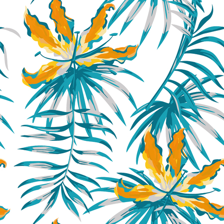 Rare tropic flowers orange gloriosa painting blue color palm banana leaves seamless pattern white background