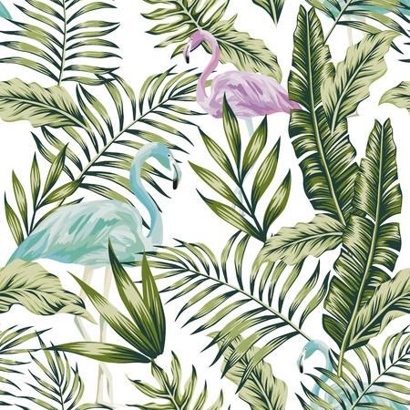 Pastel green jungle palm banana leaves blue purple tropical birds flamingo white background seamless pattern botanical composition