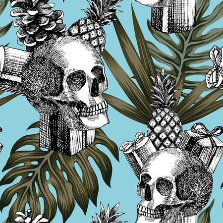 Hand drawn pencil skull gifts pineapple cone tropical leaves blue background seamless trendy pattern composition