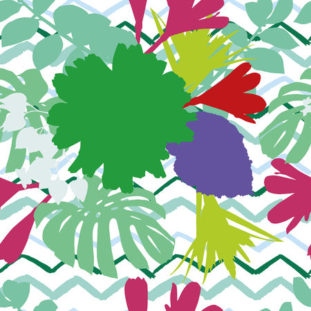 Abstract multicolor flowers leaves zigzag background vector seamless pattern Illustration