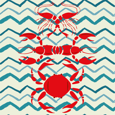 Mirror style lobster shrimp crab seamless vector pattern zigzag background sea food illustration