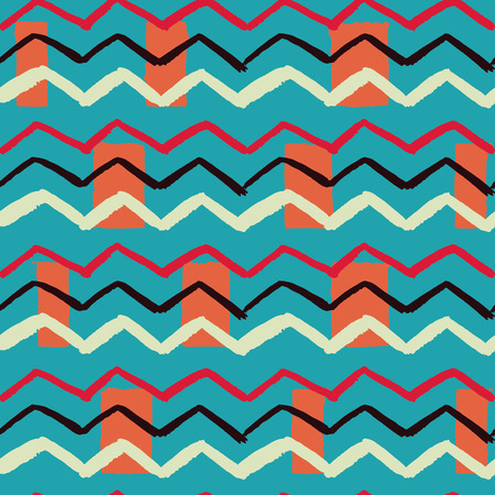 Popular combination of colors hand drawn zigzag rectangle background seamless illustration vector pattern Illustration