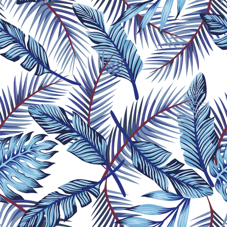 Blue exotic tropical palm leaves monstera seamless pattern white background Çizim