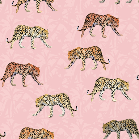 Illustration going Leopard pink leaves seamless pattern tropical botanical background Vettoriali