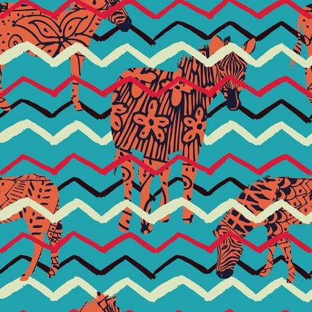 Illustration abstract african animal zebra zigzag seamless pattern blue background