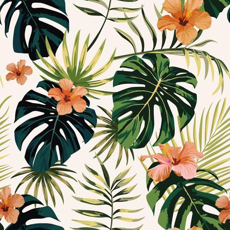 ilustración tropical plantas monstera hojas flores hibisco patrón sin fisuras fondo blanco