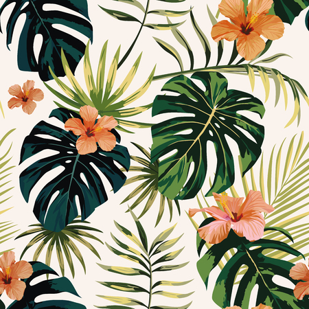 tropical illustration monstera plants leaves flowers hibiscus seamless pattern white background