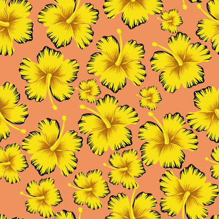 Trendy composition yellow flowers hibiscus seamless pattern pink background