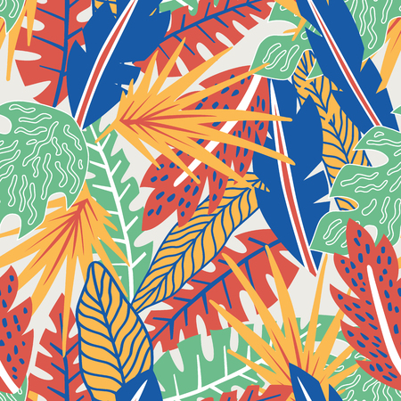 Trendy illustration abstract color hand drawn tropical leaves seamless pattern on the white background. Exotic cartoon flat wallpaper