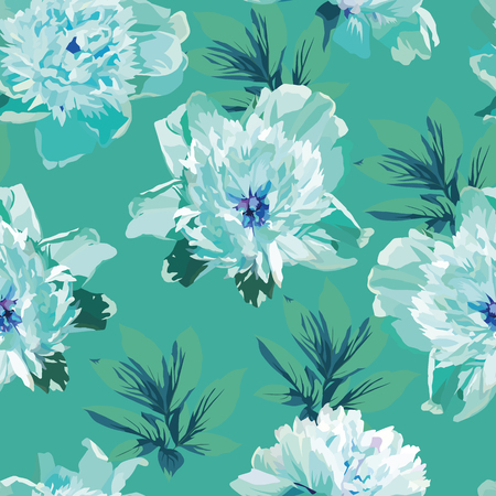Blue flowers peonies abstract color seamless pattern mint background