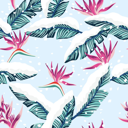 Snowy winter seamless composition from blue tropical banana leaves and flowers. Vector illustration christmas pattern falling snow