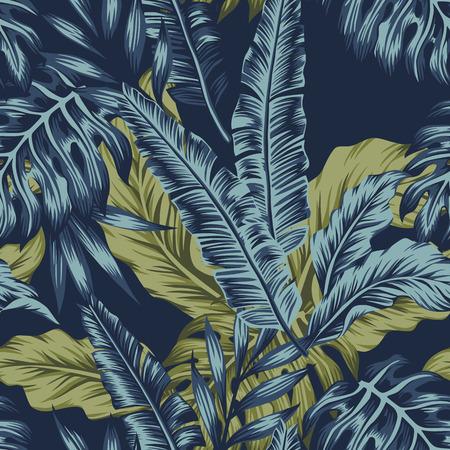 Feuilles de palmier tropical vert transparente motif fond bleu foncé. Illustration tropique vectorielle