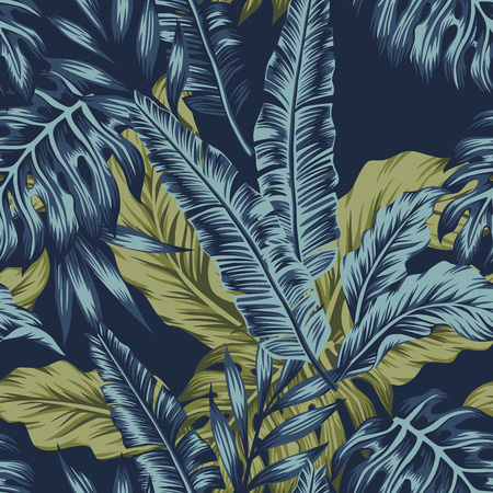 Tropical palm green leaves seamless pattern dark blue background. Vector tropic illustration
