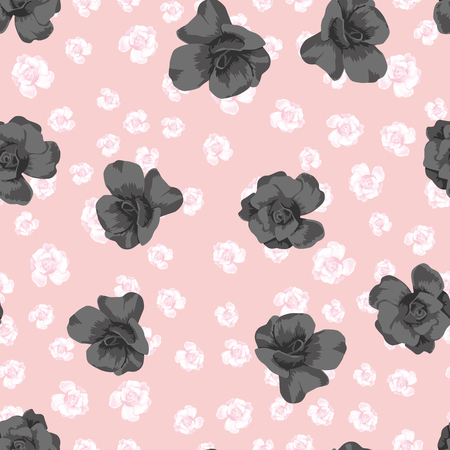 Seamless vector composition black roses on the pink flowers background. Trendy botanical pattern