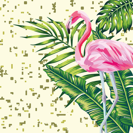 Beauty bird pink flamingo and vector tropical green leaves print digital background