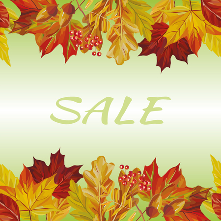 New autumn border rowan acorn maple leaves sale text background Stock fotó - 122038585