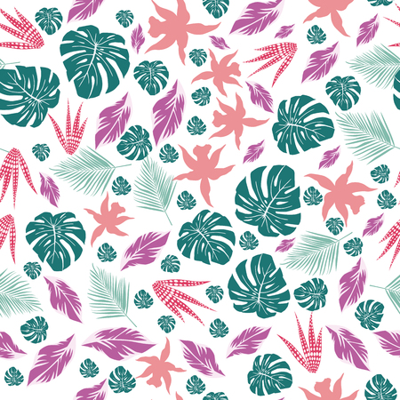 Abstract color tropical leaves monstera and flowers seamless pattern white background